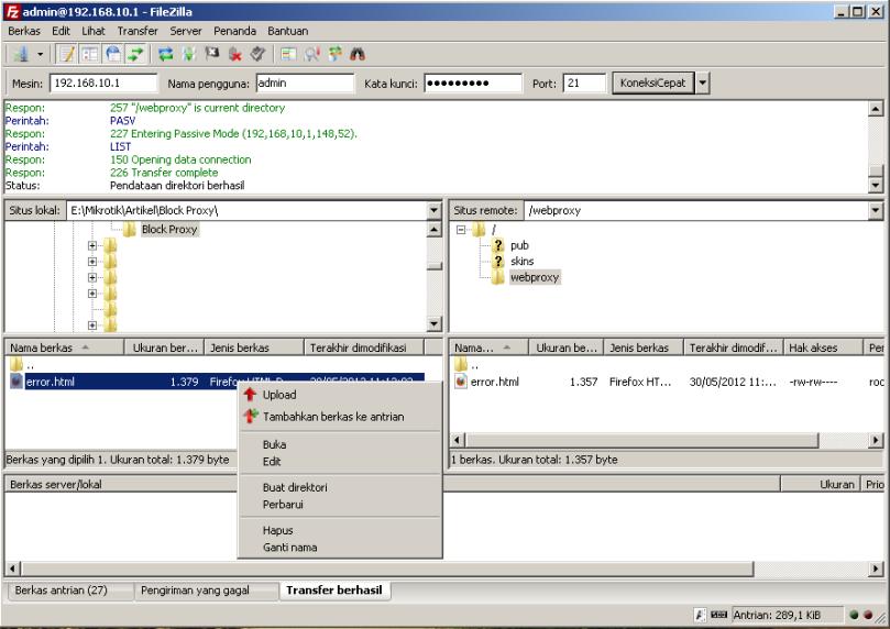 Menampilkan Pesan Web yang di Block Menggunakan Proxy